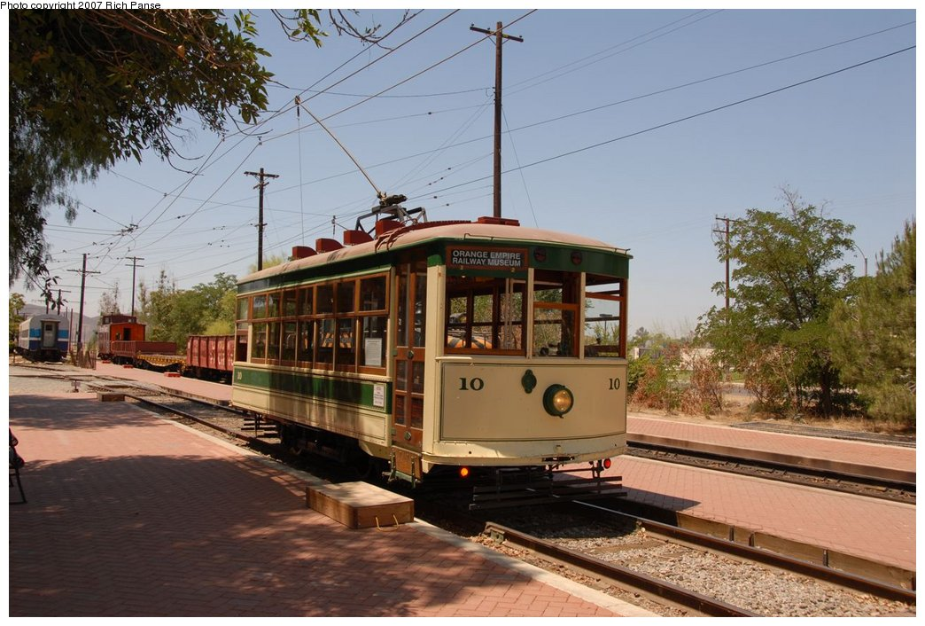 (195k, 1044x706)<br><b>Country:</b> United States<br><b>City:</b> Perris, CA<br><b>System:</b> Orange Empire Railway Museum <br><b>Car:</b>  10 <br><b>Photo by:</b> Richard Panse<br><b>Date:</b> 6/23/2007<br><b>Viewed (this week/total):</b> 2 / 745