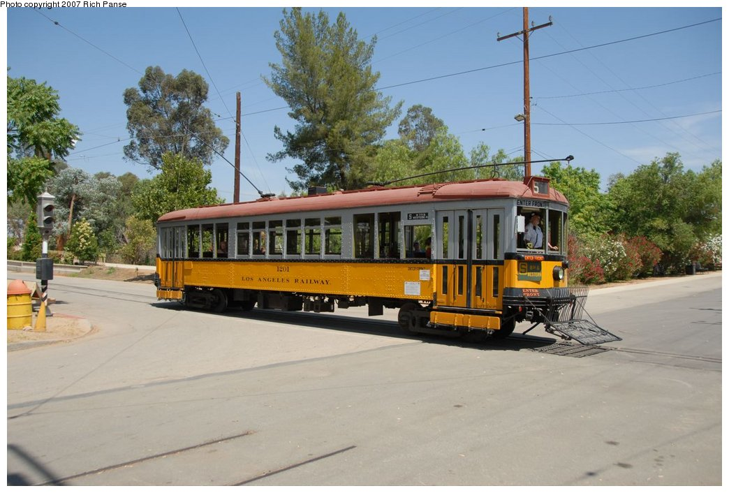 (176k, 1044x706)<br><b>Country:</b> United States<br><b>City:</b> Perris, CA<br><b>System:</b> Orange Empire Railway Museum <br><b>Car:</b>  1201 <br><b>Photo by:</b> Richard Panse<br><b>Date:</b> 6/23/2007<br><b>Viewed (this week/total):</b> 5 / 565