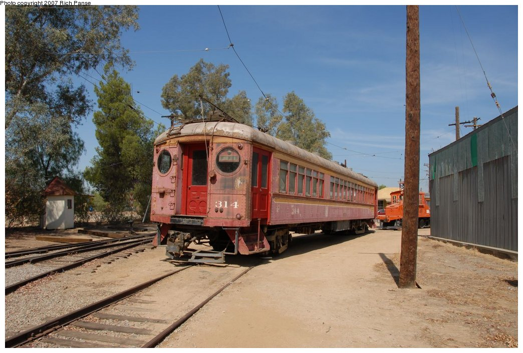 (194k, 1044x706)<br><b>Country:</b> United States<br><b>City:</b> Perris, CA<br><b>System:</b> Orange Empire Railway Museum <br><b>Car:</b>  314 <br><b>Photo by:</b> Richard Panse<br><b>Date:</b> 6/23/2007<br><b>Viewed (this week/total):</b> 0 / 702