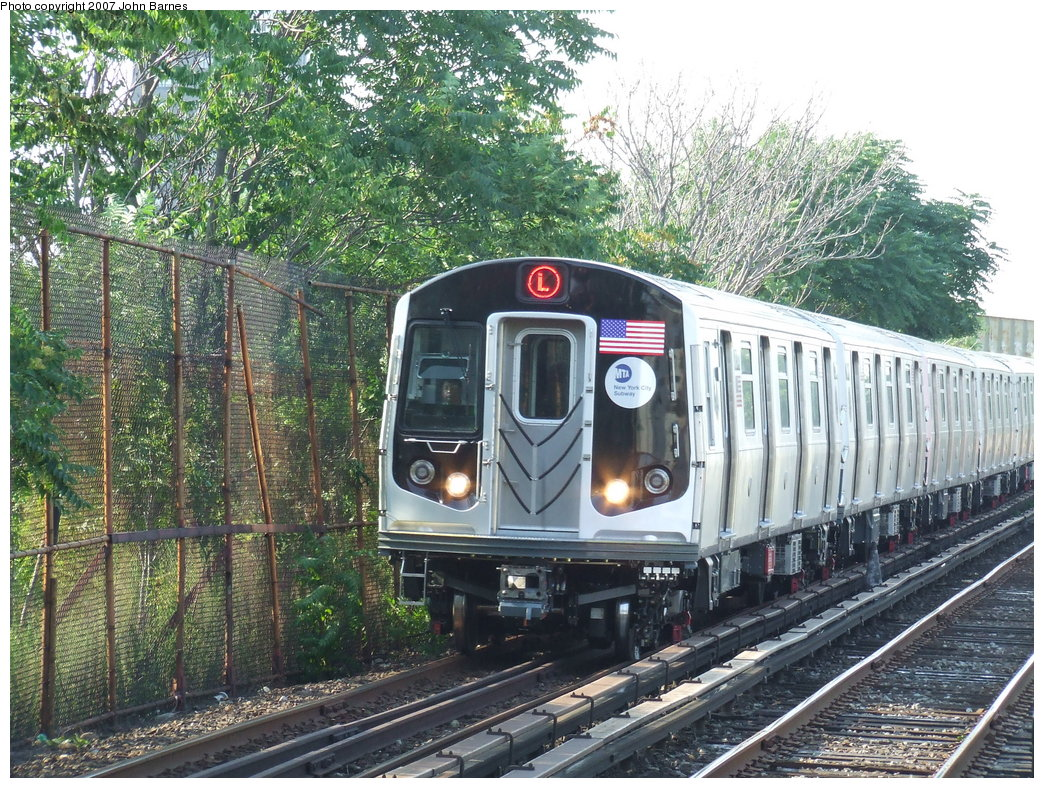 (296k, 1044x788)<br><b>Country:</b> United States<br><b>City:</b> New York<br><b>System:</b> New York City Transit<br><b>Line:</b> BMT Canarsie Line<br><b>Location:</b> New Lots Avenue <br><b>Route:</b> L<br><b>Car:</b> R-160A-1 (Alstom, 2005-2008, 4 car sets)  8344 <br><b>Photo by:</b> John Barnes<br><b>Date:</b> 8/2/2007<br><b>Viewed (this week/total):</b> 1 / 2203