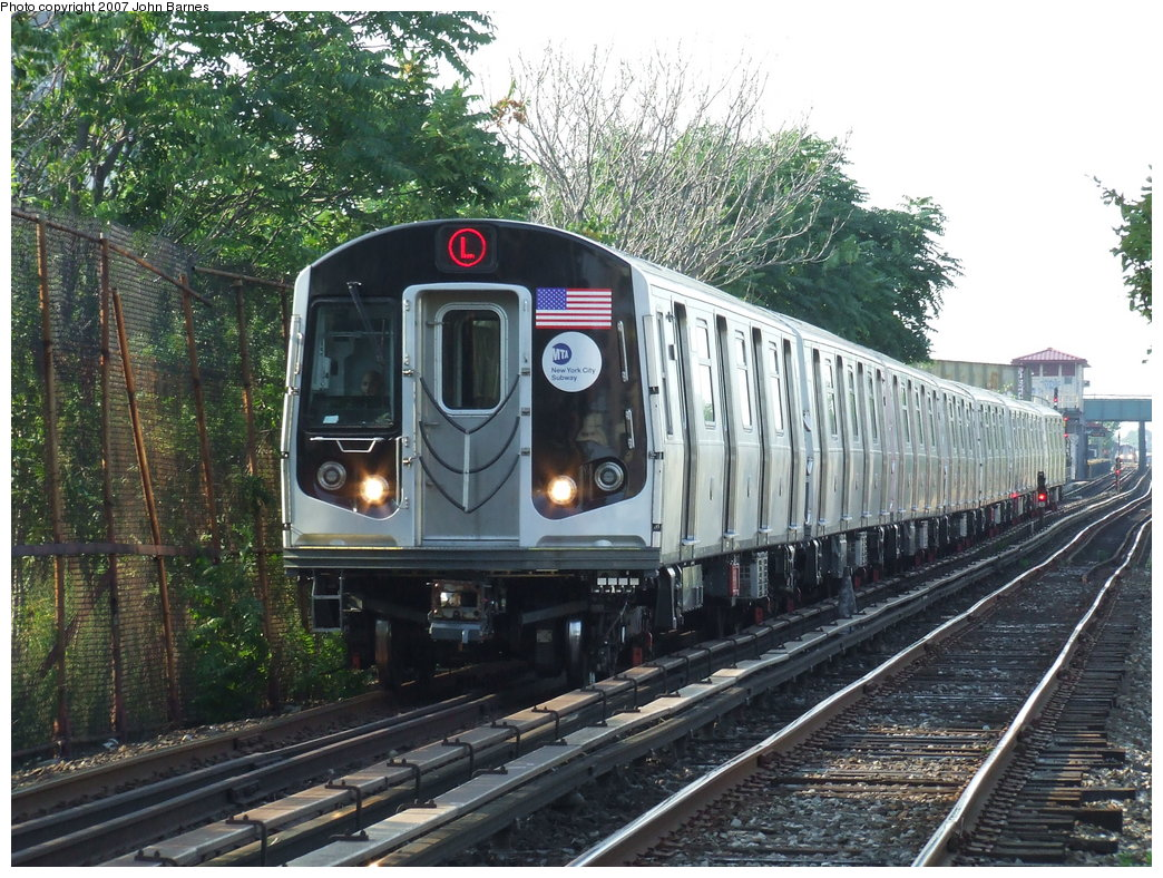 (251k, 1044x788)<br><b>Country:</b> United States<br><b>City:</b> New York<br><b>System:</b> New York City Transit<br><b>Line:</b> BMT Canarsie Line<br><b>Location:</b> New Lots Avenue <br><b>Route:</b> L<br><b>Car:</b> R-160A-1 (Alstom, 2005-2008, 4 car sets)  8316 <br><b>Photo by:</b> John Barnes<br><b>Date:</b> 8/2/2007<br><b>Viewed (this week/total):</b> 1 / 2950