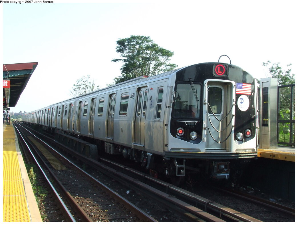 (165k, 1044x788)<br><b>Country:</b> United States<br><b>City:</b> New York<br><b>System:</b> New York City Transit<br><b>Line:</b> BMT Canarsie Line<br><b>Location:</b> New Lots Avenue <br><b>Route:</b> L<br><b>Car:</b> R-160A-1 (Alstom, 2005-2008, 4 car sets)  8320 <br><b>Photo by:</b> John Barnes<br><b>Date:</b> 8/2/2007<br><b>Viewed (this week/total):</b> 1 / 1867