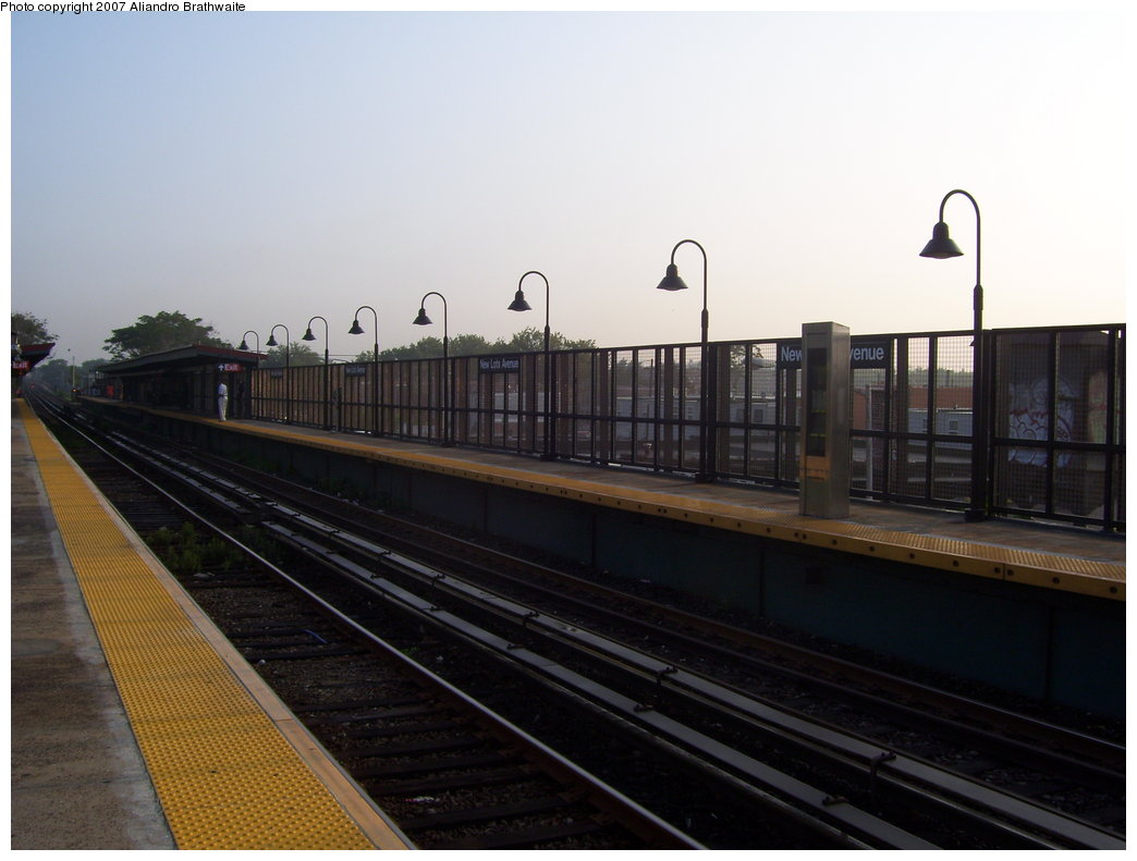 (137k, 1044x791)<br><b>Country:</b> United States<br><b>City:</b> New York<br><b>System:</b> New York City Transit<br><b>Line:</b> BMT Canarsie Line<br><b>Location:</b> New Lots Avenue <br><b>Photo by:</b> Aliandro Brathwaite<br><b>Date:</b> 7/30/2007<br><b>Viewed (this week/total):</b> 7 / 1312
