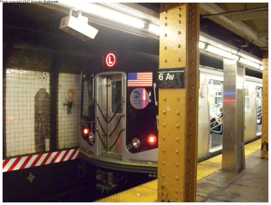 (201k, 1044x791)<br><b>Country:</b> United States<br><b>City:</b> New York<br><b>System:</b> New York City Transit<br><b>Line:</b> BMT Canarsie Line<br><b>Location:</b> 6th Avenue <br><b>Route:</b> L<br><b>Car:</b> R-160A-1 (Alstom, 2005-2008, 4 car sets)  8332 <br><b>Photo by:</b> Aliandro Brathwaite<br><b>Date:</b> 7/30/2007<br><b>Viewed (this week/total):</b> 6 / 1868