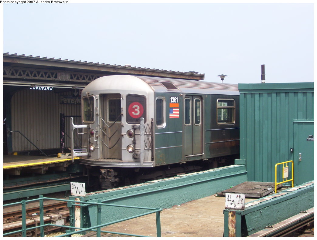 (165k, 1044x791)<br><b>Country:</b> United States<br><b>City:</b> New York<br><b>System:</b> New York City Transit<br><b>Line:</b> IRT Brooklyn Line<br><b>Location:</b> Pennsylvania Avenue <br><b>Route:</b> 3<br><b>Car:</b> R-62 (Kawasaki, 1983-1985)  1361 <br><b>Photo by:</b> Aliandro Brathwaite<br><b>Date:</b> 7/30/2007<br><b>Viewed (this week/total):</b> 0 / 1538