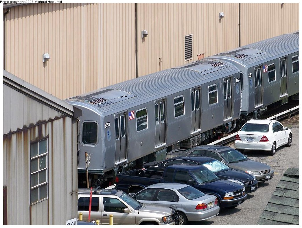 (212k, 1044x788)<br><b>Country:</b> United States<br><b>City:</b> New York<br><b>System:</b> New York City Transit<br><b>Location:</b> 207th Street Yard<br><b>Car:</b> R-160A-1 (Alstom, 2005-2008, 4 car sets)  8358 <br><b>Photo by:</b> Michael Hodurski<br><b>Date:</b> 7/27/2007<br><b>Viewed (this week/total):</b> 0 / 2683