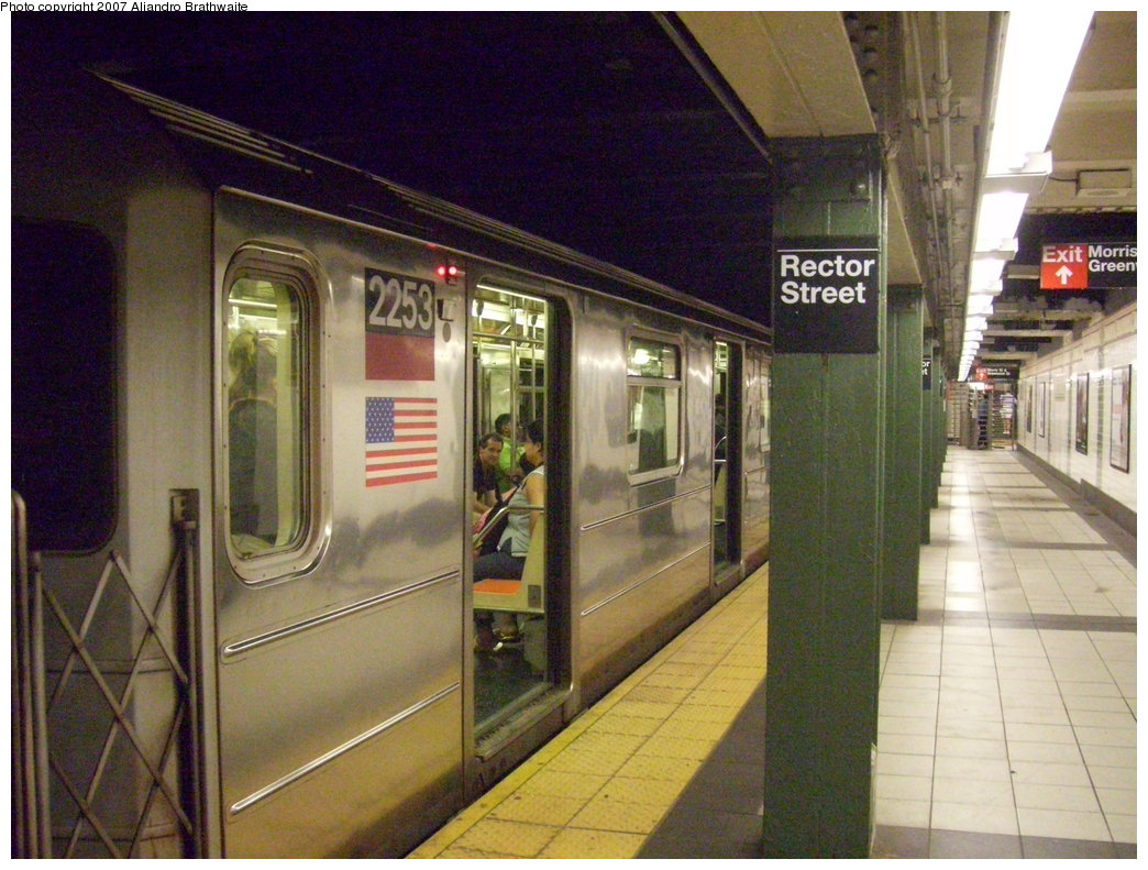(208k, 1044x791)<br><b>Country:</b> United States<br><b>City:</b> New York<br><b>System:</b> New York City Transit<br><b>Line:</b> IRT West Side Line<br><b>Location:</b> Rector Street <br><b>Route:</b> 1<br><b>Car:</b> R-62A (Bombardier, 1984-1987)  2253 <br><b>Photo by:</b> Aliandro Brathwaite<br><b>Date:</b> 8/3/2007<br><b>Viewed (this week/total):</b> 1 / 2310