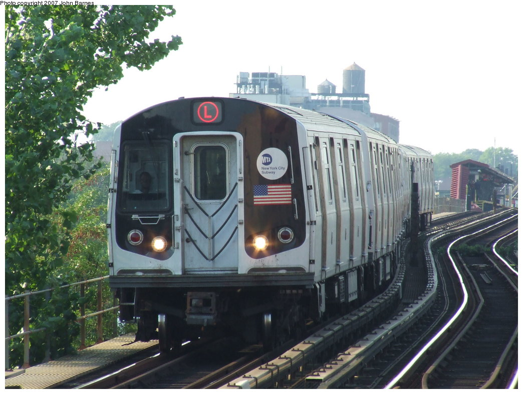 (182k, 1044x788)<br><b>Country:</b> United States<br><b>City:</b> New York<br><b>System:</b> New York City Transit<br><b>Line:</b> BMT Canarsie Line<br><b>Location:</b> Livonia Avenue <br><b>Route:</b> L<br><b>Car:</b> R-143 (Kawasaki, 2001-2002) 8153 <br><b>Photo by:</b> John Barnes<br><b>Date:</b> 8/2/2007<br><b>Viewed (this week/total):</b> 0 / 2378