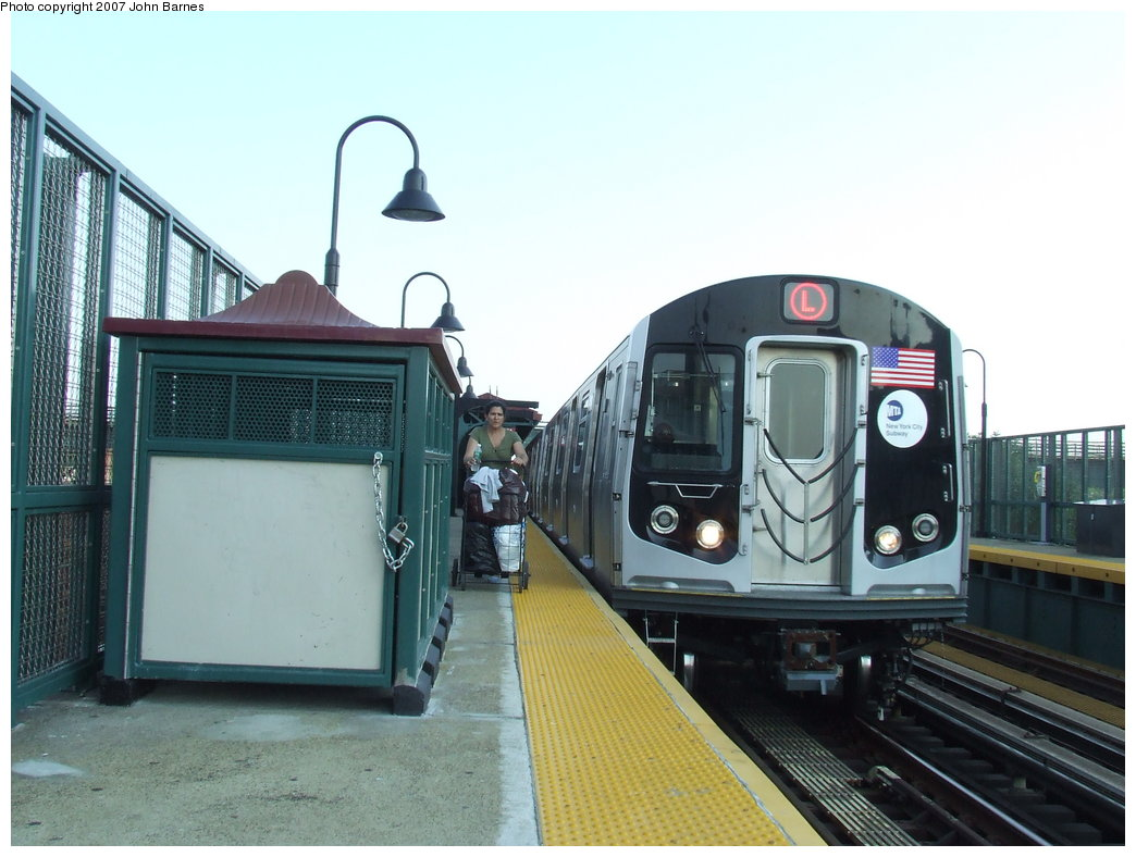 (157k, 1044x788)<br><b>Country:</b> United States<br><b>City:</b> New York<br><b>System:</b> New York City Transit<br><b>Line:</b> BMT Canarsie Line<br><b>Location:</b> Livonia Avenue <br><b>Route:</b> L<br><b>Car:</b> R-160A-1 (Alstom, 2005-2008, 4 car sets)  8320 <br><b>Photo by:</b> John Barnes<br><b>Date:</b> 8/2/2007<br><b>Viewed (this week/total):</b> 0 / 2145