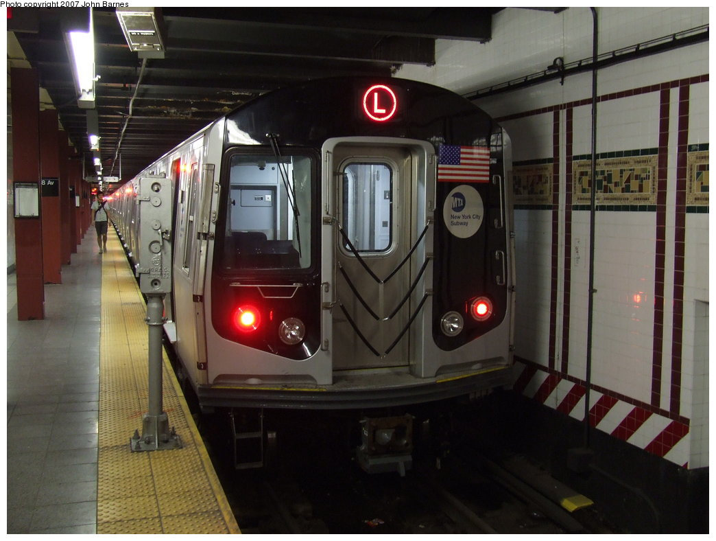 (158k, 1044x788)<br><b>Country:</b> United States<br><b>City:</b> New York<br><b>System:</b> New York City Transit<br><b>Line:</b> BMT Canarsie Line<br><b>Location:</b> 8th Avenue <br><b>Route:</b> L<br><b>Car:</b> R-160A-1 (Alstom, 2005-2008, 4 car sets)  8332 <br><b>Photo by:</b> John Barnes<br><b>Date:</b> 8/2/2007<br><b>Viewed (this week/total):</b> 5 / 2125