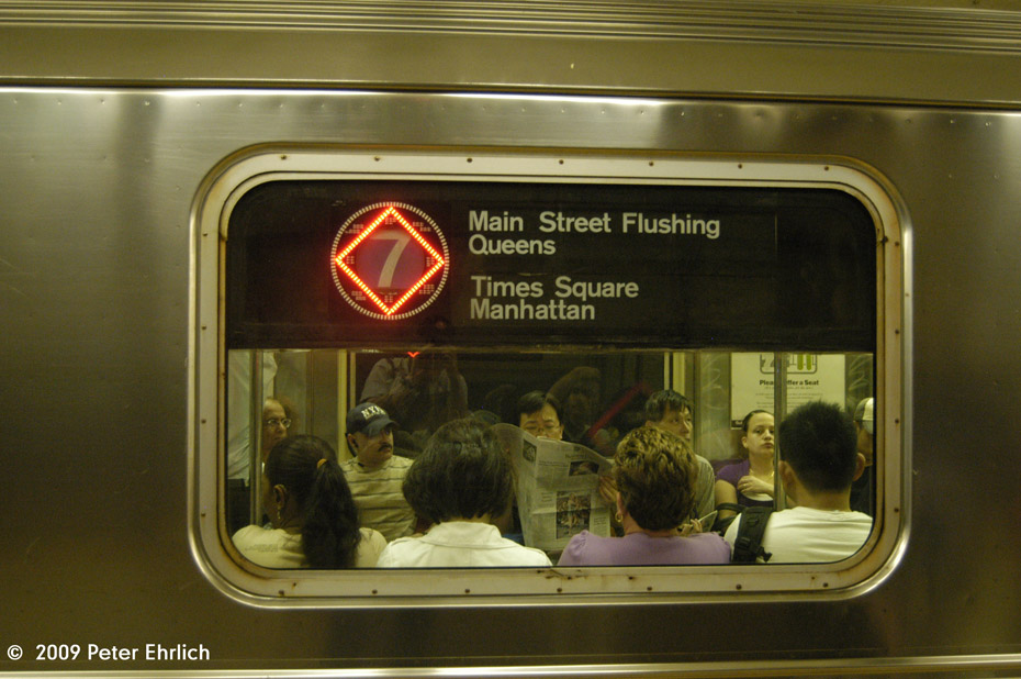 (186k, 930x618)<br><b>Country:</b> United States<br><b>City:</b> New York<br><b>System:</b> New York City Transit<br><b>Line:</b> IRT Flushing Line<br><b>Route:</b> 7<br><b>Car:</b> R-62A (Bombardier, 1984-1987)  2074 <br><b>Photo by:</b> Peter Ehrlich<br><b>Date:</b> 7/22/2009<br><b>Notes:</b> Illuminated red diamond denotes an express train.<br><b>Viewed (this week/total):</b> 2 / 826