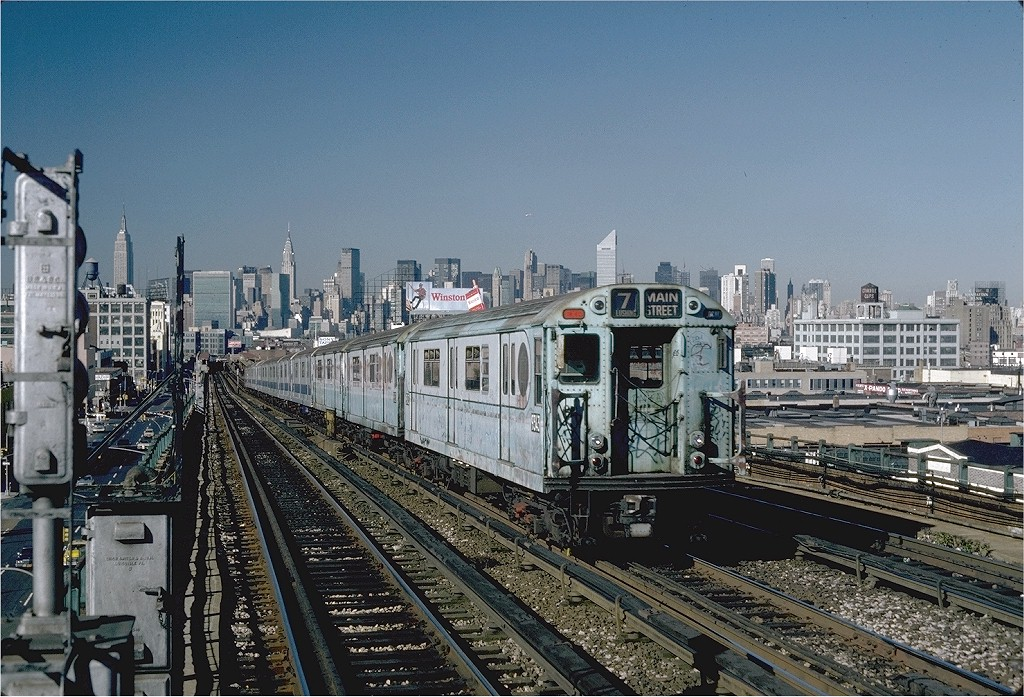 (256k, 1024x697)<br><b>Country:</b> United States<br><b>City:</b> New York<br><b>System:</b> New York City Transit<br><b>Line:</b> IRT Flushing Line<br><b>Location:</b> 40th Street/Lowery Street <br><b>Route:</b> 7<br><b>Car:</b> R-33 World's Fair (St. Louis, 1963-64) 9343 <br><b>Photo by:</b> Steve Zabel<br><b>Collection of:</b> Joe Testagrose<br><b>Date:</b> 11/3/1981<br><b>Viewed (this week/total):</b> 0 / 1623