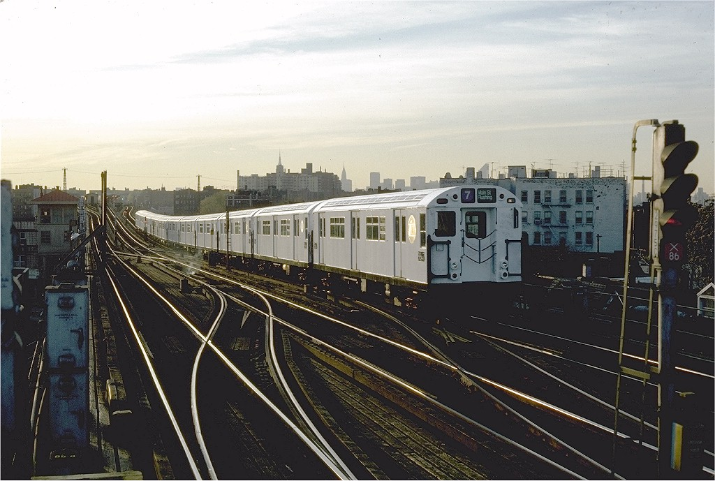 (202k, 1024x689)<br><b>Country:</b> United States<br><b>City:</b> New York<br><b>System:</b> New York City Transit<br><b>Line:</b> IRT Flushing Line<br><b>Location:</b> 69th Street/Fisk Avenue <br><b>Route:</b> 7<br><b>Car:</b> R-36 World's Fair (St. Louis, 1963-64) 9647 <br><b>Photo by:</b> Steve Zabel<br><b>Collection of:</b> Joe Testagrose<br><b>Date:</b> 11/13/1981<br><b>Viewed (this week/total):</b> 4 / 2721