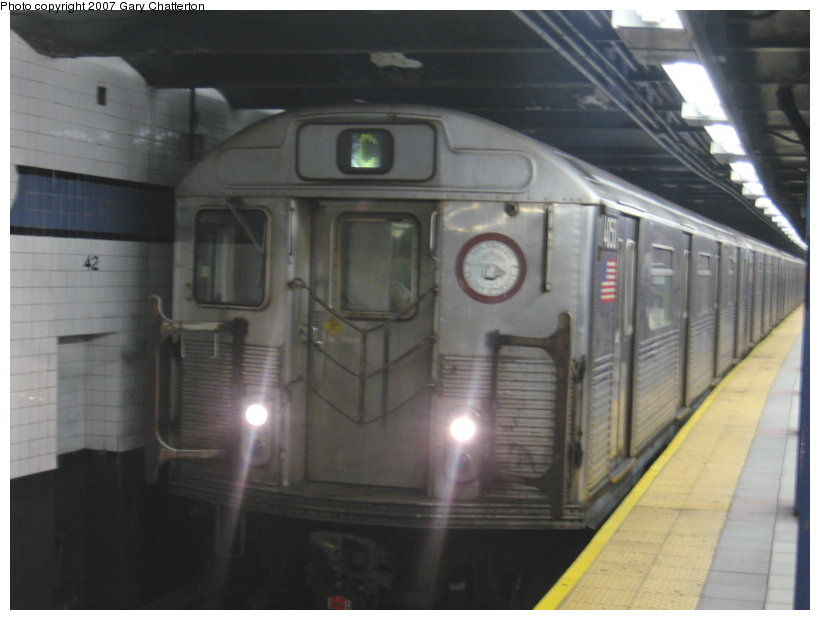 (79k, 820x620)<br><b>Country:</b> United States<br><b>City:</b> New York<br><b>System:</b> New York City Transit<br><b>Line:</b> IND 8th Avenue Line<br><b>Location:</b> 42nd Street/Port Authority Bus Terminal <br><b>Route:</b> C<br><b>Car:</b> R-38 (St. Louis, 1966-1967)  4050 <br><b>Photo by:</b> Gary Chatterton<br><b>Date:</b> 8/7/2007<br><b>Viewed (this week/total):</b> 3 / 2515