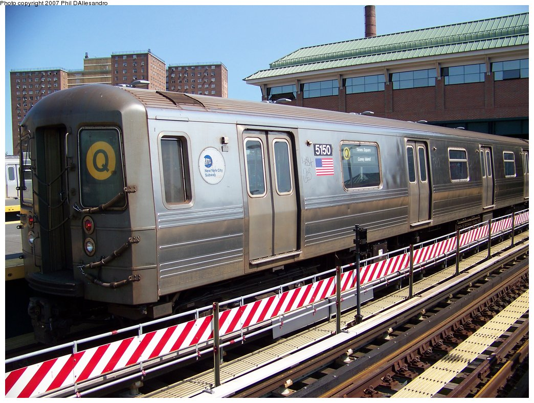 (244k, 1044x788)<br><b>Country:</b> United States<br><b>City:</b> New York<br><b>System:</b> New York City Transit<br><b>Location:</b> Coney Island/Stillwell Avenue<br><b>Route:</b> Q<br><b>Car:</b> R-68A (Kawasaki, 1988-1989)  5150 <br><b>Photo by:</b> Philip D'Allesandro<br><b>Date:</b> 8/11/2007<br><b>Viewed (this week/total):</b> 0 / 1055