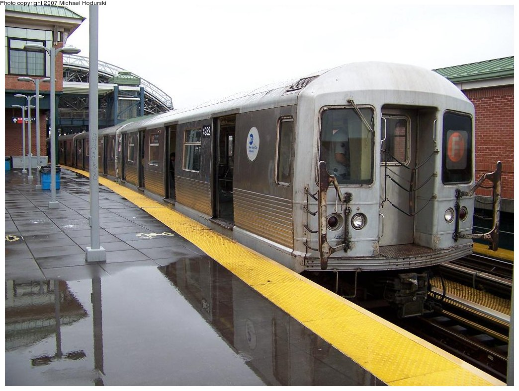 (189k, 1044x788)<br><b>Country:</b> United States<br><b>City:</b> New York<br><b>System:</b> New York City Transit<br><b>Location:</b> Coney Island/Stillwell Avenue<br><b>Route:</b> F<br><b>Car:</b> R-42 (St. Louis, 1969-1970)  4932 <br><b>Photo by:</b> Michael Hodurski<br><b>Date:</b> 8/10/2007<br><b>Viewed (this week/total):</b> 1 / 1663