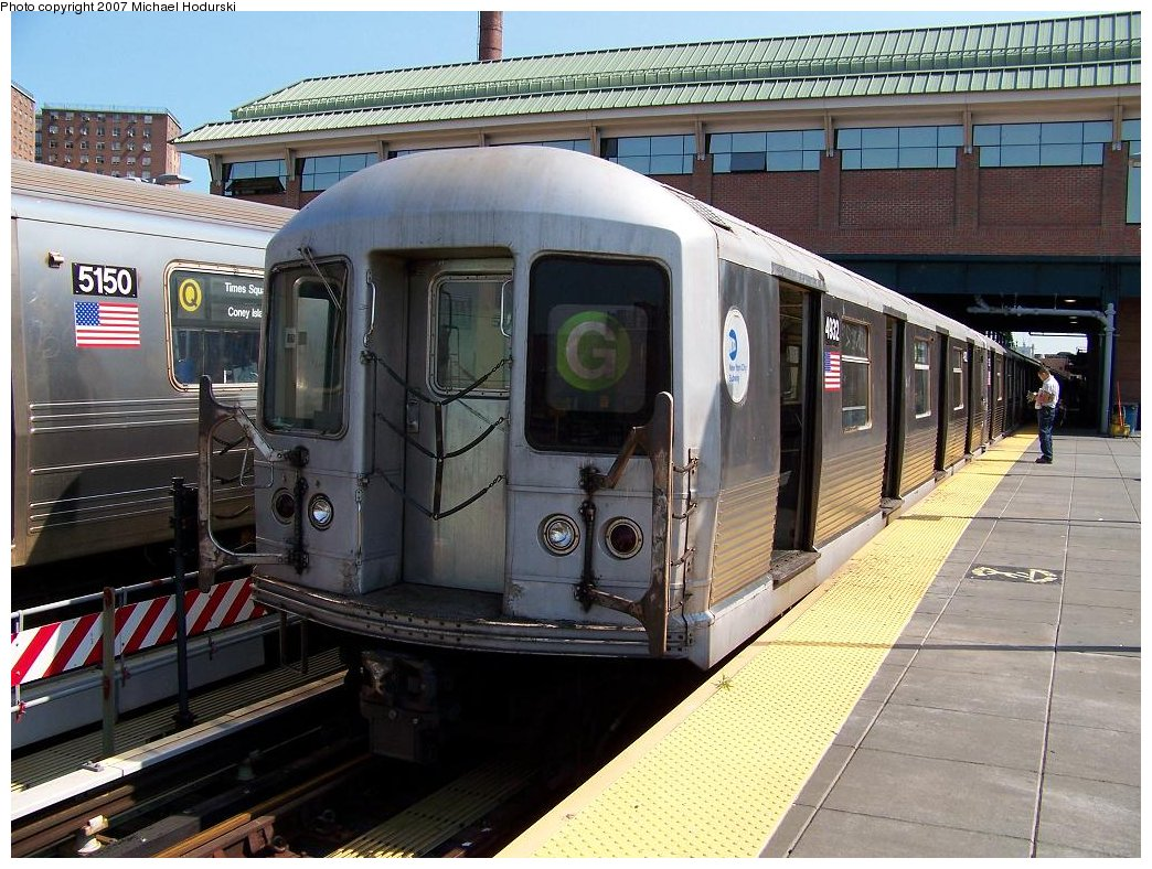 (221k, 1044x788)<br><b>Country:</b> United States<br><b>City:</b> New York<br><b>System:</b> New York City Transit<br><b>Location:</b> Coney Island/Stillwell Avenue<br><b>Route:</b> G<br><b>Car:</b> R-42 (St. Louis, 1969-1970)  4932 <br><b>Photo by:</b> Michael Hodurski<br><b>Date:</b> 8/11/2007<br><b>Viewed (this week/total):</b> 1 / 1522