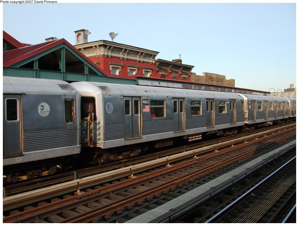 (186k, 1044x788)<br><b>Country:</b> United States<br><b>City:</b> New York<br><b>System:</b> New York City Transit<br><b>Line:</b> BMT Nassau Street/Jamaica Line<br><b>Location:</b> Marcy Avenue <br><b>Route:</b> J<br><b>Car:</b> R-42 (St. Louis, 1969-1970)  4603 <br><b>Photo by:</b> David Pirmann<br><b>Date:</b> 8/14/2007<br><b>Viewed (this week/total):</b> 1 / 830