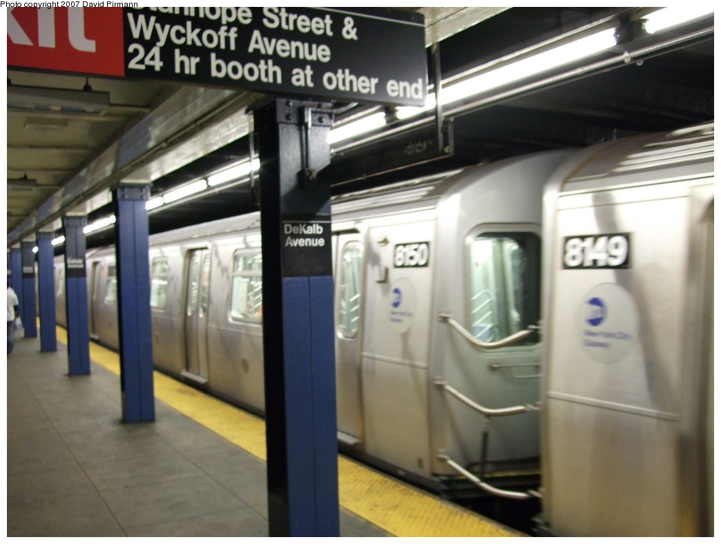 (140k, 1044x788)<br><b>Country:</b> United States<br><b>City:</b> New York<br><b>System:</b> New York City Transit<br><b>Line:</b> BMT Canarsie Line<br><b>Location:</b> DeKalb Avenue <br><b>Route:</b> L<br><b>Car:</b> R-143 (Kawasaki, 2001-2002) 8150 <br><b>Photo by:</b> David Pirmann<br><b>Date:</b> 8/14/2007<br><b>Viewed (this week/total):</b> 0 / 2541