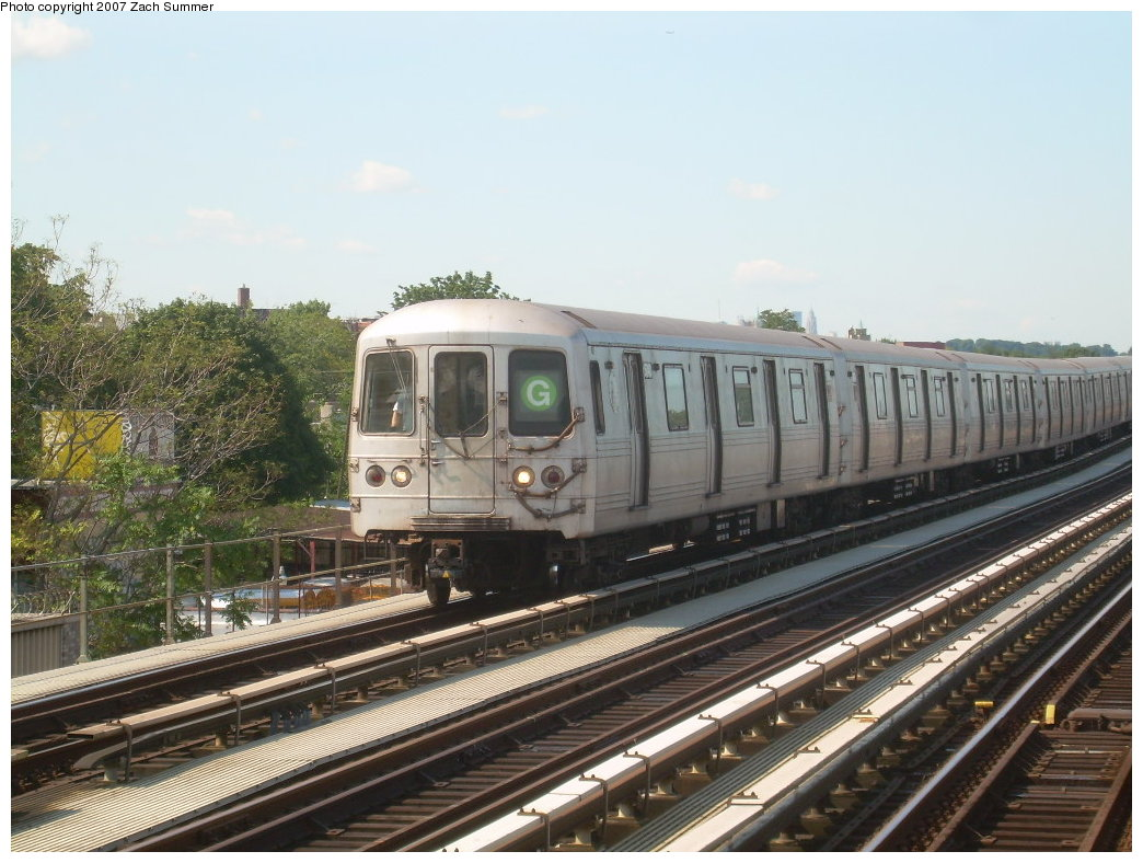 (213k, 1044x788)<br><b>Country:</b> United States<br><b>City:</b> New York<br><b>System:</b> New York City Transit<br><b>Line:</b> BMT Culver Line<br><b>Location:</b> Bay Parkway (22nd Avenue) <br><b>Route:</b> G<br><b>Car:</b> R-46 (Pullman-Standard, 1974-75)  <br><b>Photo by:</b> Zach Summer<br><b>Date:</b> 8/12/2007<br><b>Viewed (this week/total):</b> 1 / 1066