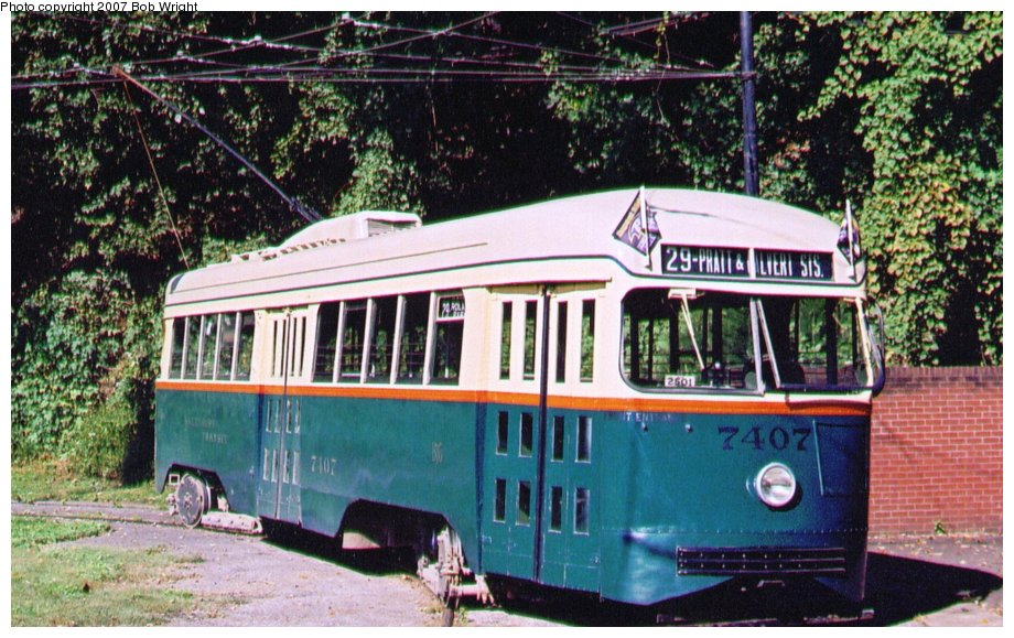 (154k, 920x579)<br><b>Country:</b> United States<br><b>City:</b> Baltimore, MD<br><b>System:</b> Baltimore Streetcar Museum <br><b>Car:</b> PCC 7407 <br><b>Photo by:</b> Bob Wright<br><b>Date:</b> 10/2004<br><b>Viewed (this week/total):</b> 0 / 647