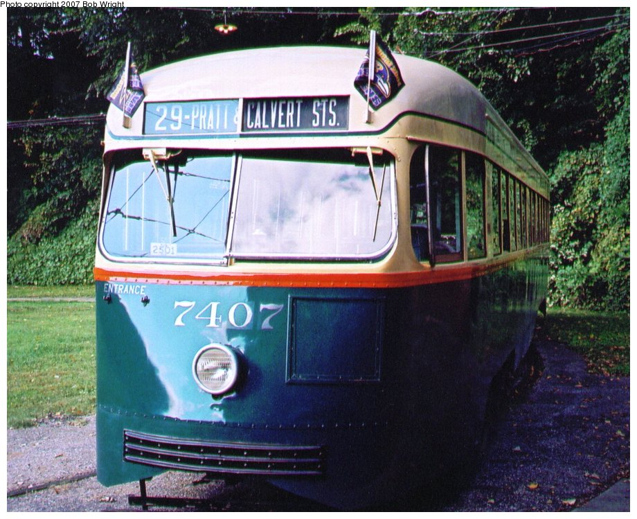 (166k, 920x749)<br><b>Country:</b> United States<br><b>City:</b> Baltimore, MD<br><b>System:</b> Baltimore Streetcar Museum <br><b>Car:</b> PCC 7407 <br><b>Photo by:</b> Bob Wright<br><b>Date:</b> 10/2004<br><b>Viewed (this week/total):</b> 0 / 620