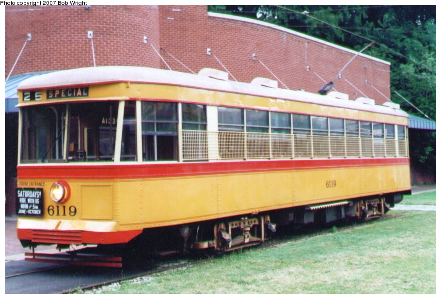 (118k, 910x617)<br><b>Country:</b> United States<br><b>City:</b> Baltimore, MD<br><b>System:</b> Baltimore Streetcar Museum <br><b>Car:</b>  6119 <br><b>Photo by:</b> Bob Wright<br><b>Date:</b> 7/1995<br><b>Viewed (this week/total):</b> 2 / 564
