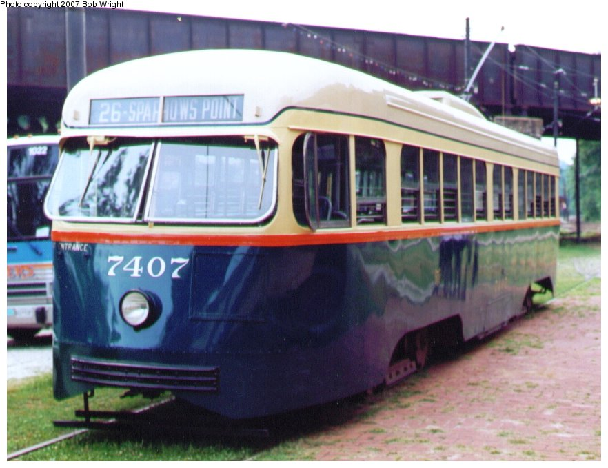 (104k, 882x678)<br><b>Country:</b> United States<br><b>City:</b> Baltimore, MD<br><b>System:</b> Baltimore Streetcar Museum <br><b>Car:</b> PCC 7407 <br><b>Photo by:</b> Bob Wright<br><b>Date:</b> 7/1995<br><b>Viewed (this week/total):</b> 0 / 497
