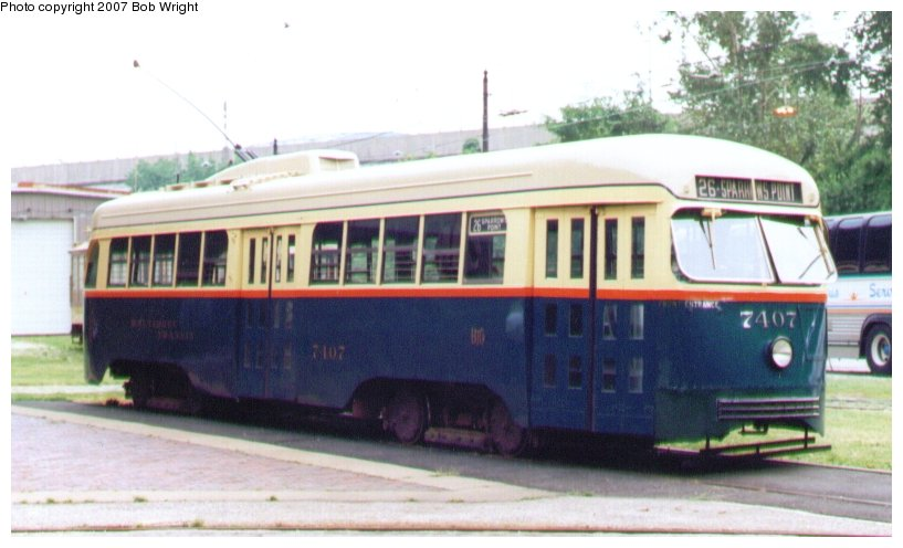(71k, 817x496)<br><b>Country:</b> United States<br><b>City:</b> Baltimore, MD<br><b>System:</b> Baltimore Streetcar Museum <br><b>Car:</b> PCC 7407 <br><b>Photo by:</b> Bob Wright<br><b>Date:</b> 7/1995<br><b>Viewed (this week/total):</b> 2 / 564
