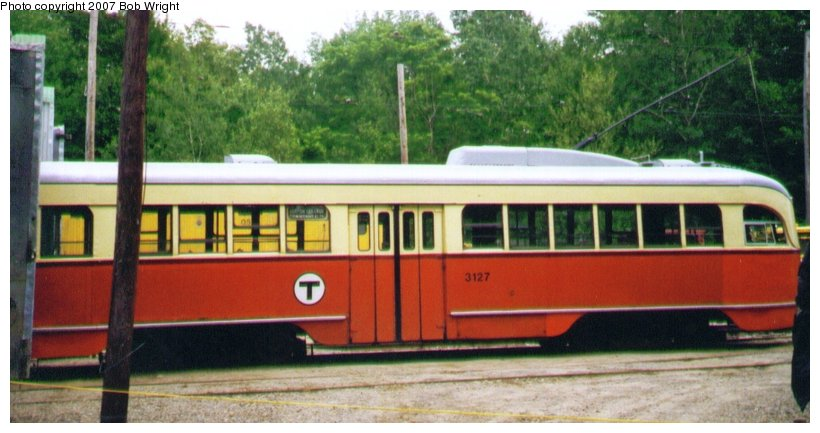 (79k, 820x433)<br><b>Country:</b> United States<br><b>City:</b> Kennebunk, ME<br><b>System:</b> Seashore Trolley Museum <br><b>Car:</b> MBTA/BSRy PCC Wartime (Pullman-Standard, 1944)  3127 <br><b>Photo by:</b> Bob Wright<br><b>Date:</b> 7/1997<br><b>Viewed (this week/total):</b> 1 / 1258