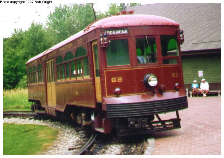 (82k, 770x544)<br><b>Country:</b> United States<br><b>City:</b> Kennebunk, ME<br><b>System:</b> Seashore Trolley Museum <br><b>Car:</b> PSTC Center Entrance Interurban (J.G. Brill, 1926)  62 <br><b>Photo by:</b> Bob Wright<br><b>Date:</b> 7/1997<br><b>Viewed (this week/total):</b> 3 / 1029