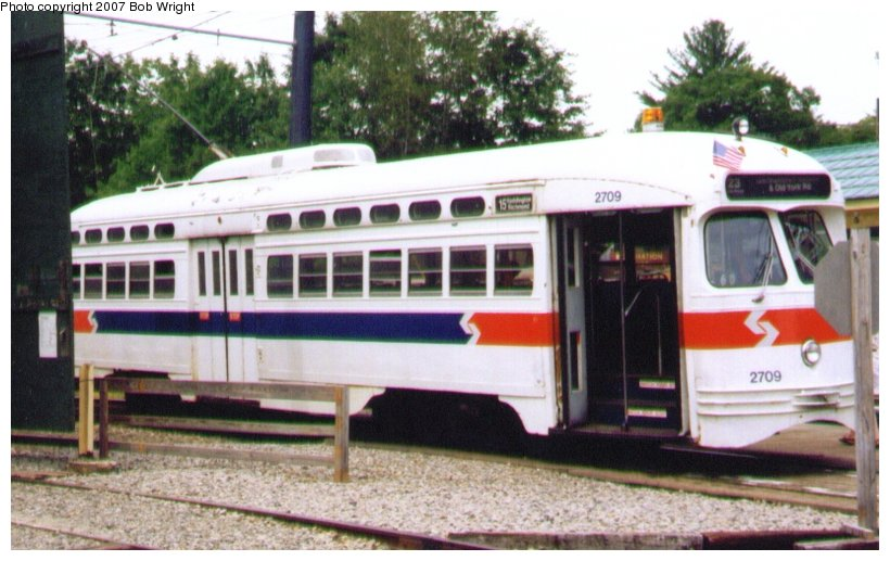 (93k, 820x517)<br><b>Country:</b> United States<br><b>City:</b> Kennebunk, ME<br><b>System:</b> Seashore Trolley Museum <br><b>Car:</b> PTC/SEPTA Postwar All-electric PCC (St.Louis, 1947)  2709 <br><b>Photo by:</b> Bob Wright<br><b>Date:</b> 7/1997<br><b>Viewed (this week/total):</b> 0 / 1069