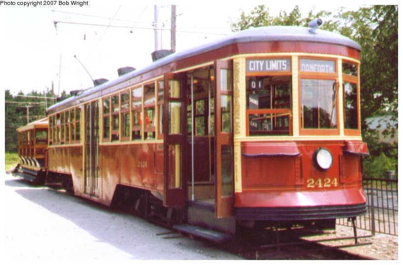 (85k, 820x539)<br><b>Country:</b> Canada<br><b>City:</b> Toronto<br><b>System:</b> Halton County Radial Railway <br><b>Car:</b> TTC Witt 2424 <br><b>Photo by:</b> Bob Wright<br><b>Date:</b> 7/1999<br><b>Viewed (this week/total):</b> 4 / 983