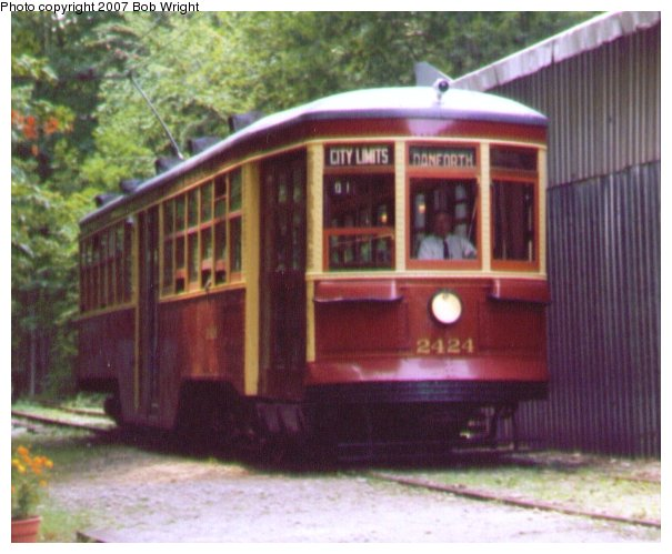 (61k, 605x499)<br><b>Country:</b> Canada<br><b>City:</b> Toronto<br><b>System:</b> Halton County Radial Railway <br><b>Car:</b> TTC Witt 2424 <br><b>Photo by:</b> Bob Wright<br><b>Date:</b> 7/1999<br><b>Viewed (this week/total):</b> 0 / 819