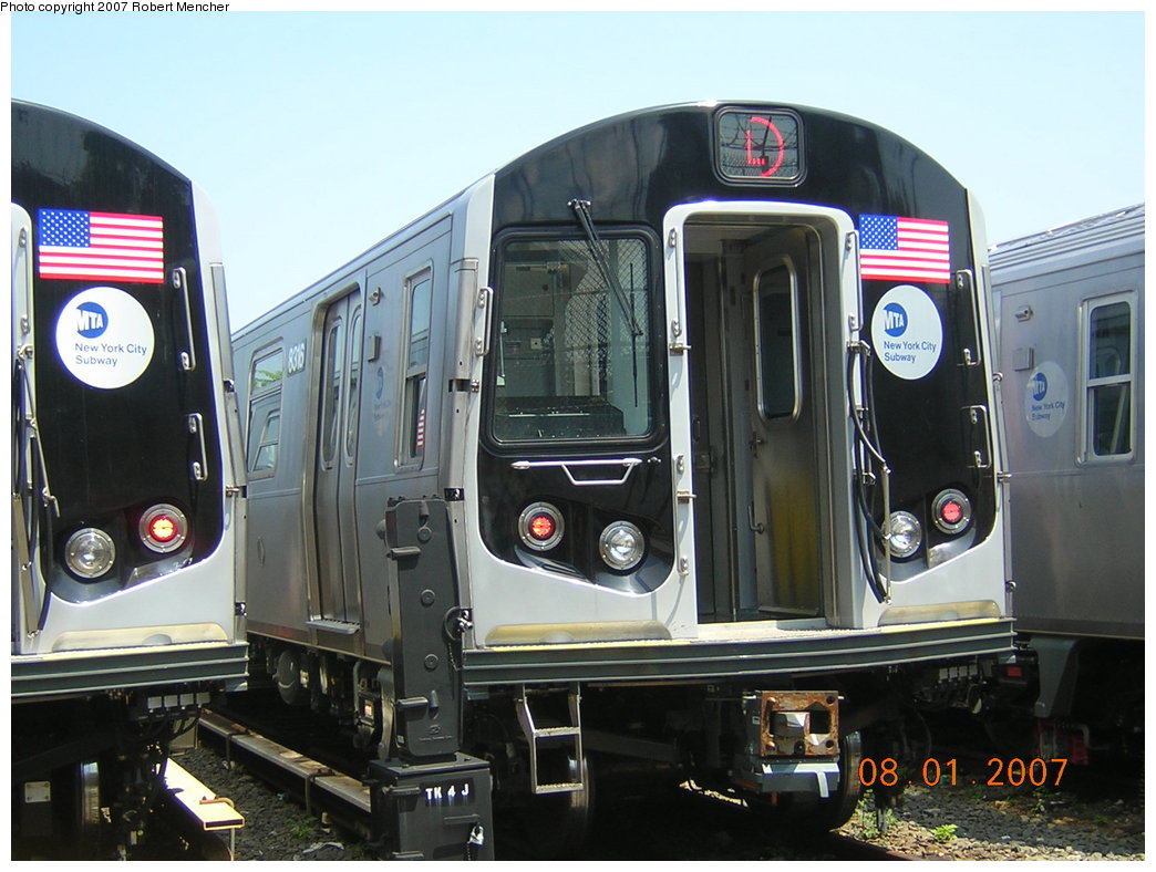 (199k, 1044x788)<br><b>Country:</b> United States<br><b>City:</b> New York<br><b>System:</b> New York City Transit<br><b>Location:</b> Rockaway Parkway (Canarsie) Yard<br><b>Car:</b> R-160A-1 (Alstom, 2005-2008, 4 car sets)  8316 <br><b>Photo by:</b> Robert Mencher<br><b>Date:</b> 8/1/2007<br><b>Viewed (this week/total):</b> 0 / 2095