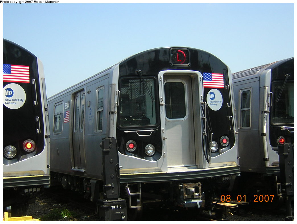 (174k, 1044x788)<br><b>Country:</b> United States<br><b>City:</b> New York<br><b>System:</b> New York City Transit<br><b>Location:</b> Rockaway Parkway (Canarsie) Yard<br><b>Car:</b> R-160A-1 (Alstom, 2005-2008, 4 car sets)  8344 <br><b>Photo by:</b> Robert Mencher<br><b>Date:</b> 8/1/2007<br><b>Viewed (this week/total):</b> 1 / 1403