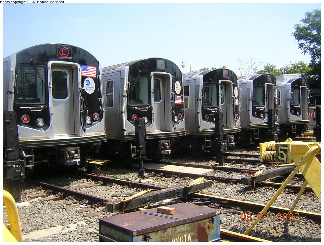 (256k, 1044x788)<br><b>Country:</b> United States<br><b>City:</b> New York<br><b>System:</b> New York City Transit<br><b>Location:</b> Rockaway Parkway (Canarsie) Yard<br><b>Car:</b> R-160A-1 (Alstom, 2005-2008, 4 car sets)   <br><b>Photo by:</b> Robert Mencher<br><b>Date:</b> 8/1/2007<br><b>Viewed (this week/total):</b> 1 / 3149