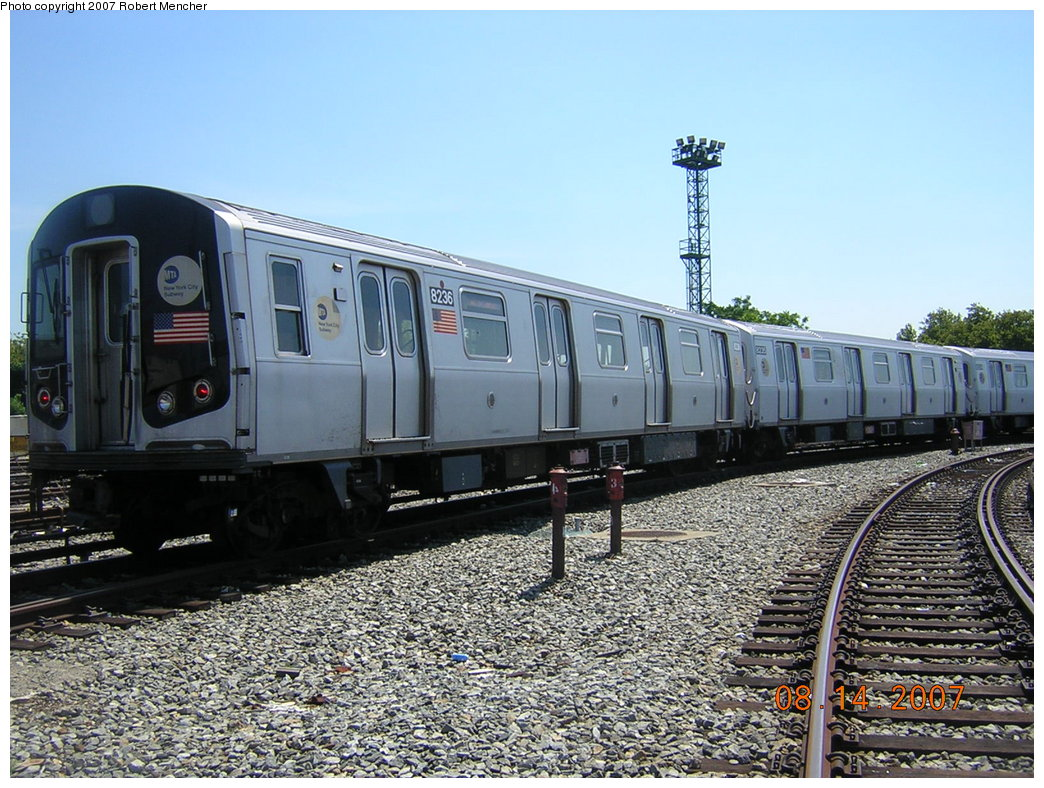 (250k, 1044x788)<br><b>Country:</b> United States<br><b>City:</b> New York<br><b>System:</b> New York City Transit<br><b>Location:</b> Rockaway Parkway (Canarsie) Yard<br><b>Car:</b> R-143 (Kawasaki, 2001-2002) 8236 <br><b>Photo by:</b> Robert Mencher<br><b>Date:</b> 8/14/2007<br><b>Viewed (this week/total):</b> 3 / 1878