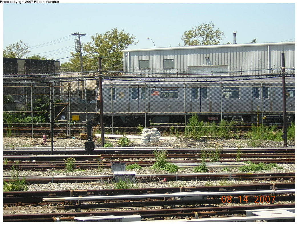 (298k, 1044x788)<br><b>Country:</b> United States<br><b>City:</b> New York<br><b>System:</b> New York City Transit<br><b>Location:</b> Rockaway Parkway (Canarsie) Yard<br><b>Car:</b> R-143 (Kawasaki, 2001-2002) 8156 <br><b>Photo by:</b> Robert Mencher<br><b>Date:</b> 8/14/2007<br><b>Viewed (this week/total):</b> 2 / 2442