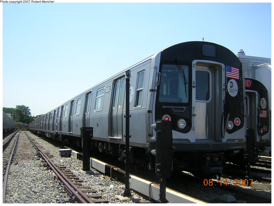 (192k, 1044x788)<br><b>Country:</b> United States<br><b>City:</b> New York<br><b>System:</b> New York City Transit<br><b>Location:</b> Rockaway Parkway (Canarsie) Yard<br><b>Car:</b> R-160A-1 (Alstom, 2005-2008, 4 car sets)  8332 <br><b>Photo by:</b> Robert Mencher<br><b>Date:</b> 8/14/2007<br><b>Viewed (this week/total):</b> 2 / 1383