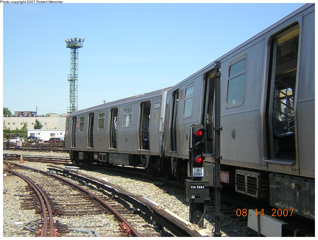(217k, 1044x788)<br><b>Country:</b> United States<br><b>City:</b> New York<br><b>System:</b> New York City Transit<br><b>Location:</b> Rockaway Parkway (Canarsie) Yard<br><b>Car:</b> R-143 (Kawasaki, 2001-2002) 8209 <br><b>Photo by:</b> Robert Mencher<br><b>Date:</b> 8/14/2007<br><b>Viewed (this week/total):</b> 2 / 1885