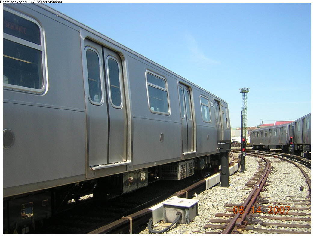 (188k, 1044x788)<br><b>Country:</b> United States<br><b>City:</b> New York<br><b>System:</b> New York City Transit<br><b>Location:</b> Rockaway Parkway (Canarsie) Yard<br><b>Car:</b> R-160A-1 (Alstom, 2005-2008, 4 car sets)  8332 <br><b>Photo by:</b> Robert Mencher<br><b>Date:</b> 8/14/2007<br><b>Viewed (this week/total):</b> 7 / 1089