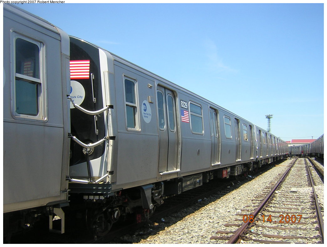 (190k, 1044x788)<br><b>Country:</b> United States<br><b>City:</b> New York<br><b>System:</b> New York City Transit<br><b>Location:</b> Rockaway Parkway (Canarsie) Yard<br><b>Car:</b> R-160A-1 (Alstom, 2005-2008, 4 car sets)  8329 <br><b>Photo by:</b> Robert Mencher<br><b>Date:</b> 8/14/2007<br><b>Viewed (this week/total):</b> 1 / 1518