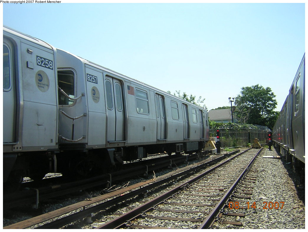 (214k, 1044x788)<br><b>Country:</b> United States<br><b>City:</b> New York<br><b>System:</b> New York City Transit<br><b>Location:</b> Rockaway Parkway (Canarsie) Yard<br><b>Car:</b> R-143 (Kawasaki, 2001-2002) 8257 <br><b>Photo by:</b> Robert Mencher<br><b>Date:</b> 8/14/2007<br><b>Viewed (this week/total):</b> 1 / 1736