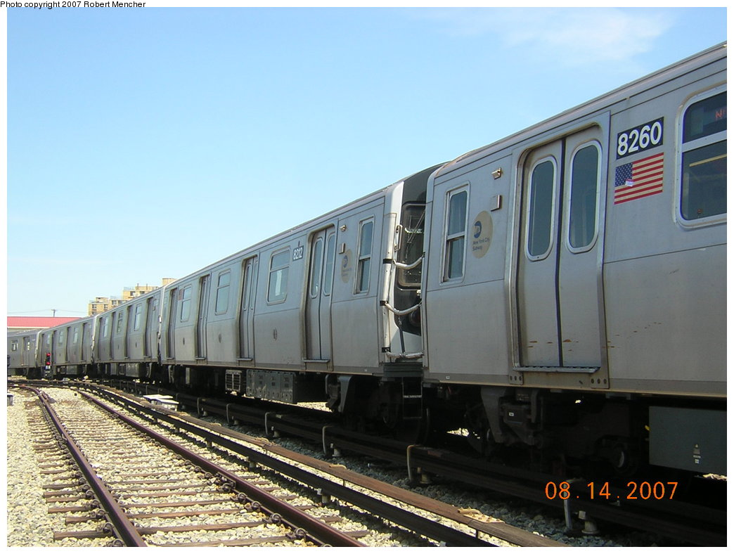 (189k, 1044x788)<br><b>Country:</b> United States<br><b>City:</b> New York<br><b>System:</b> New York City Transit<br><b>Location:</b> Rockaway Parkway (Canarsie) Yard<br><b>Car:</b> R-143 (Kawasaki, 2001-2002) 8212 <br><b>Photo by:</b> Robert Mencher<br><b>Date:</b> 8/14/2007<br><b>Viewed (this week/total):</b> 0 / 1047