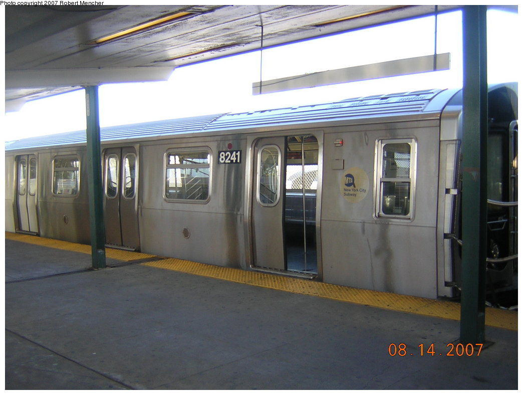 (169k, 1044x788)<br><b>Country:</b> United States<br><b>City:</b> New York<br><b>System:</b> New York City Transit<br><b>Line:</b> BMT Canarsie Line<br><b>Location:</b> Rockaway Parkway <br><b>Route:</b> L<br><b>Car:</b> R-143 (Kawasaki, 2001-2002) 8241 <br><b>Photo by:</b> Robert Mencher<br><b>Date:</b> 8/14/2007<br><b>Viewed (this week/total):</b> 5 / 1090