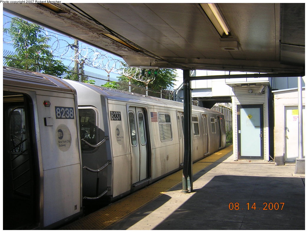 (218k, 1044x788)<br><b>Country:</b> United States<br><b>City:</b> New York<br><b>System:</b> New York City Transit<br><b>Line:</b> BMT Canarsie Line<br><b>Location:</b> Rockaway Parkway <br><b>Route:</b> L<br><b>Car:</b> R-143 (Kawasaki, 2001-2002) 8237 <br><b>Photo by:</b> Robert Mencher<br><b>Date:</b> 8/14/2007<br><b>Viewed (this week/total):</b> 3 / 1184