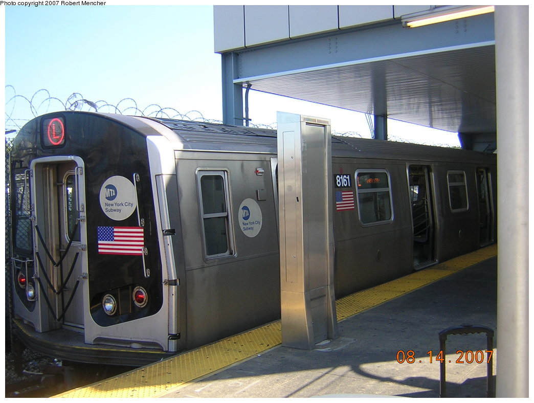 (185k, 1044x788)<br><b>Country:</b> United States<br><b>City:</b> New York<br><b>System:</b> New York City Transit<br><b>Line:</b> BMT Canarsie Line<br><b>Location:</b> Rockaway Parkway <br><b>Route:</b> L<br><b>Car:</b> R-143 (Kawasaki, 2001-2002) 8161 <br><b>Photo by:</b> Robert Mencher<br><b>Date:</b> 8/14/2007<br><b>Viewed (this week/total):</b> 0 / 1791