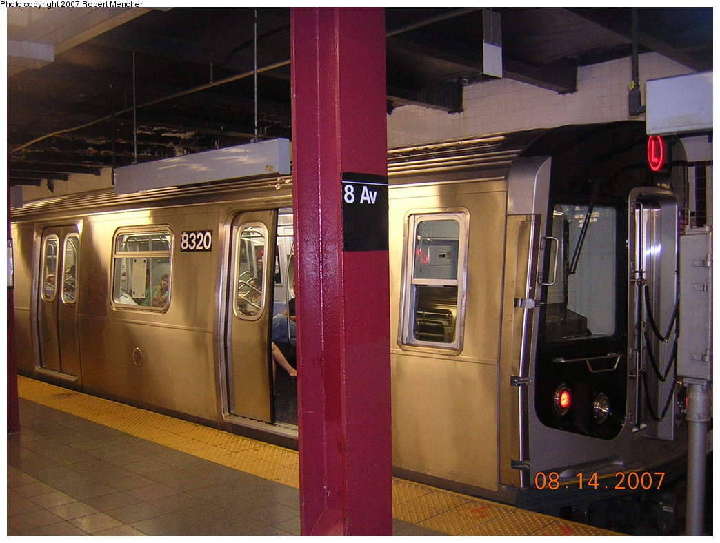(231k, 1044x788)<br><b>Country:</b> United States<br><b>City:</b> New York<br><b>System:</b> New York City Transit<br><b>Line:</b> BMT Canarsie Line<br><b>Location:</b> 8th Avenue <br><b>Route:</b> L<br><b>Car:</b> R-160A-1 (Alstom, 2005-2008, 4 car sets)  8320 <br><b>Photo by:</b> Robert Mencher<br><b>Date:</b> 8/14/2007<br><b>Viewed (this week/total):</b> 3 / 2266