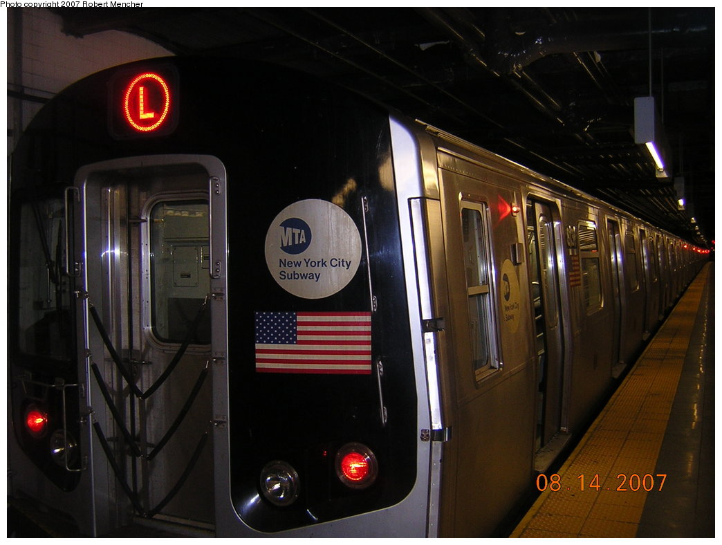 (171k, 1044x788)<br><b>Country:</b> United States<br><b>City:</b> New York<br><b>System:</b> New York City Transit<br><b>Line:</b> BMT Canarsie Line<br><b>Location:</b> 8th Avenue <br><b>Route:</b> L<br><b>Car:</b> R-143 (Kawasaki, 2001-2002) 8131 <br><b>Photo by:</b> Robert Mencher<br><b>Date:</b> 8/14/2007<br><b>Viewed (this week/total):</b> 0 / 2196